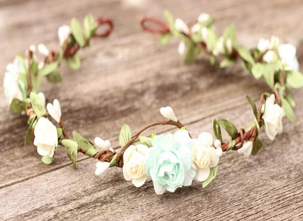 Flower Crown Mint and Ivory Wedding Floral Hair Wreath